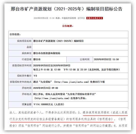 信用报告助力邢台市矿产资源规划(2021-2025年)编制项目