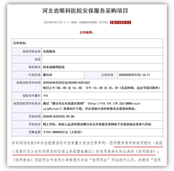 河北省眼科医院安保服务采购项目须提供信用报告