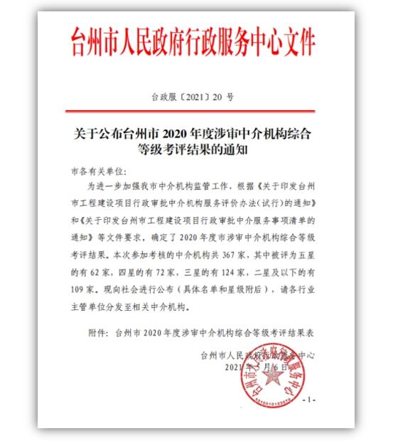 """喜讯!台州绿盾被评为2020年度台州市行政审批中介服务""""四星""""机构"""